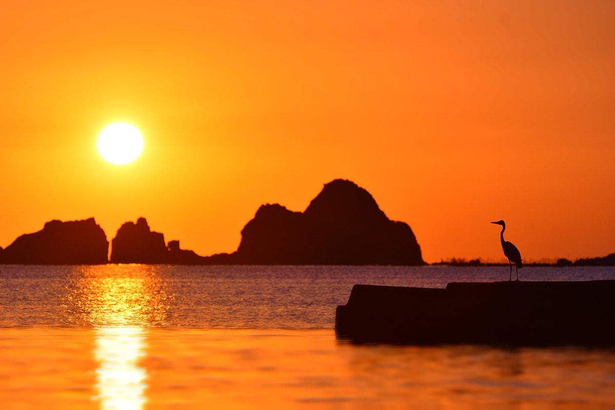 坊津の港から望む夕景