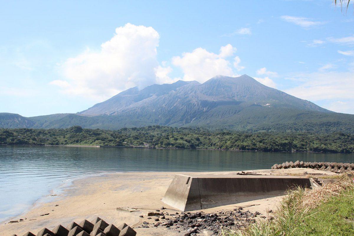 桜島の昭和火口側を望める新島。写真は昭和火口から水蒸気が上がる様子