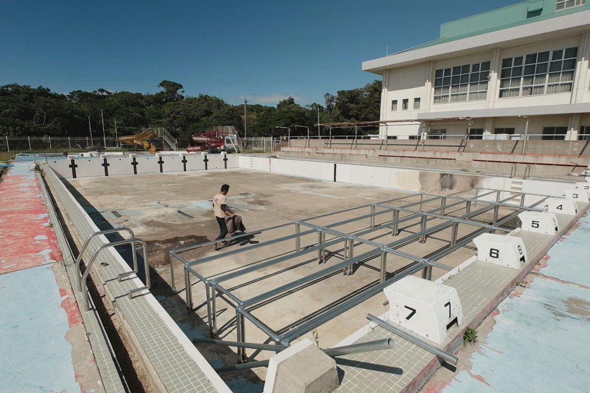 現在宮出さんは閉鎖されたプールを伊仙町から 借り受けて活動拠点にしている